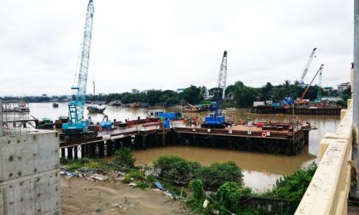 ミャンマー 新タケタ橋建設工事現場